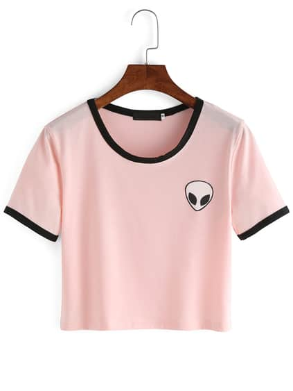 Pink Crew Neck Alien Print Crop T-Shirt
