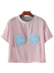 Pink Short Sleeve Shells Patch Chiffon Blouse