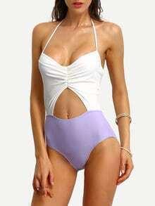 Contrast Halter Shirred Cutout Bikini Set