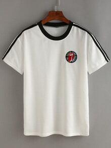 T-Shirt kurzarm mit Streifen und Gaze - weiß