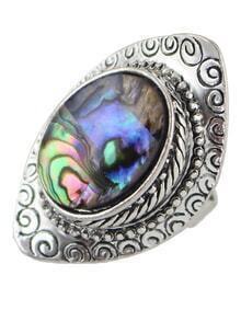 Silver Plated Colorful Stone Ring