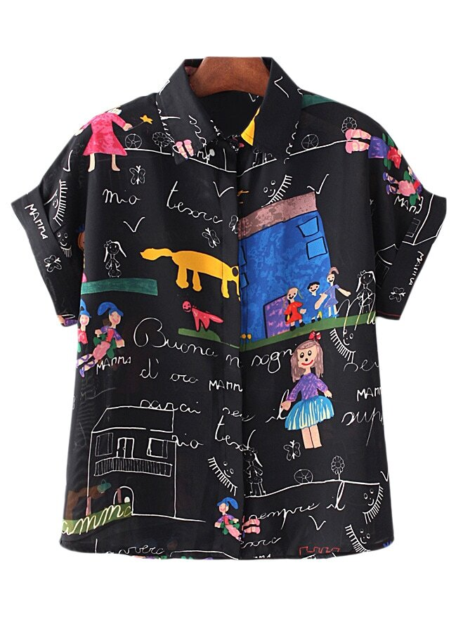 Black Roll Cuff Cartoon House Printing Chiffon Blouse blouse160414210