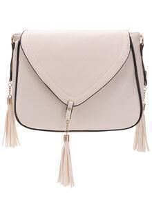 Faux Leather Tassel Trimmed Flap Bag