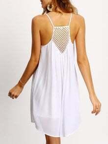 Spaghetti Strap Hollow Shift Neon White Braces Slip Dresses