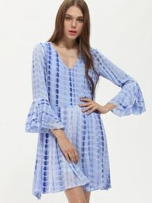 Blue V-neck Bell Sleeve Backless Dress