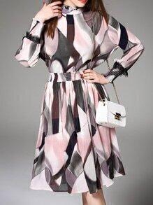 Multicolor Contrast Eyelash Lace A-Line Dress