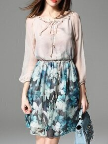 Nude Tie Neck Drawstring Floral Dress