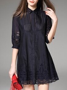 Navy Lapel Hollow Shirt Dress
