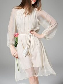 White Sheer Tie-Waist Chiffon Dress