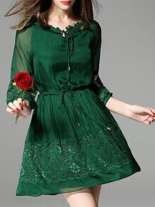 Green Tie Neck Contrast Gauze Drawstring Lace Dress