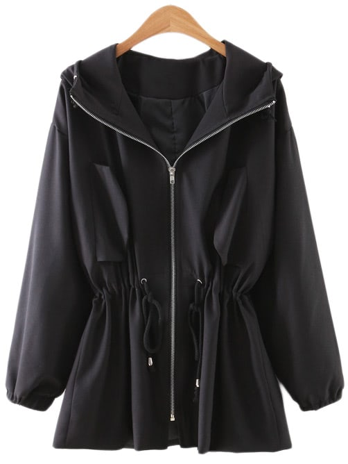 Черный Drawstring Молнии Спереди С Капюшоном Солнцезащитный Крем Одежда