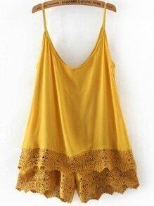 Yellow Spaghetti Strap Lace Jumpsuit