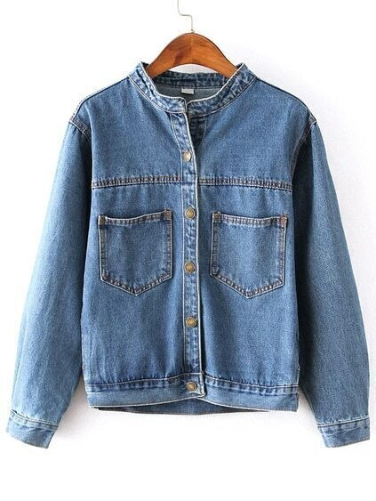 Stand Collar Denim Coat With Pockets