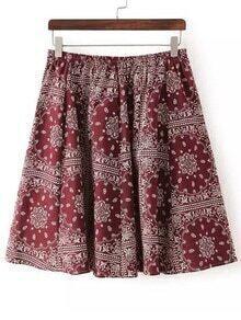 Burgundy Elastic Waist Floral Skirt