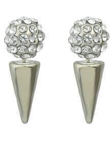 Pendientes esféricos cristales plateado