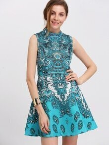 Blue Sleeveless Tribal Print Flare Dress