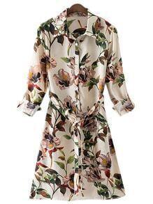 Multicolor Split Side Tie-Waist Flowers Print Shirt Dress