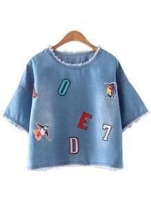 Blue Fringed Letter Bird Embroidery Denim Blouse