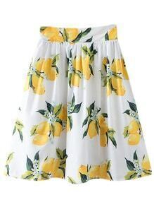 Multicolor High Waist Zipper Side Lemon Print Skirt