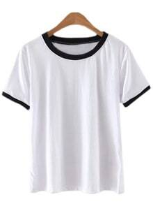 White Contrast Piping Round Neck Short Sleeve T-shirt