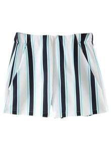 Multicolor Zipper Back Pockets Vertical Stripe Shorts