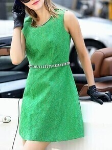 Green Disc Flowers Beading Dress