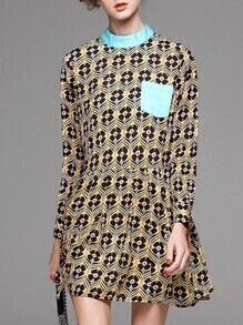 Blue Pockets Clover Print A-Line Dress