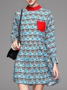 Red Pockets Clover Print A-Line Dress