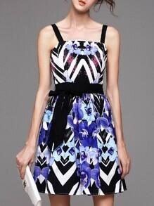 Blue Spaghetti Strap Print Tie-Waist Dress