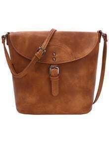 Distressed Buckle Flap Bucket Bag - Brown