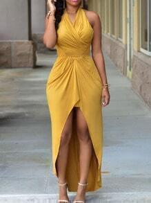 Halter Drape-Front High-Low Dress