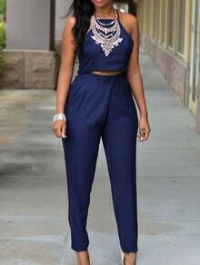 High Neck Cami Top With Pants - Navy