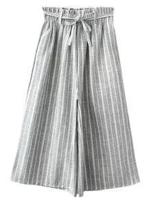 Grey Pockets Tie-waist Bow Vertical Stripe Wide Leg Pants