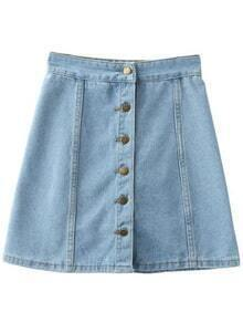 Light Blue Empire Waist Buttons Front Denim Skirt