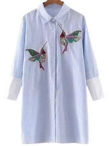 Blusa de rayas con bordado de pájaro -azul