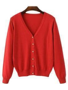 Red V Neck Buttons Front Cardigan Knitwear