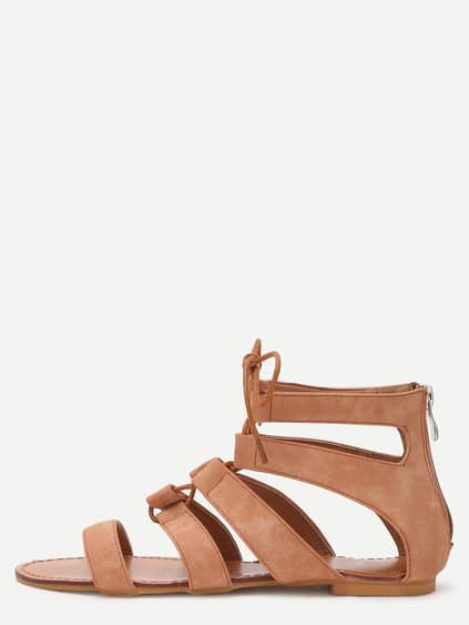 Brown Peep Toe Caged Cut Out Gladiator Sandals