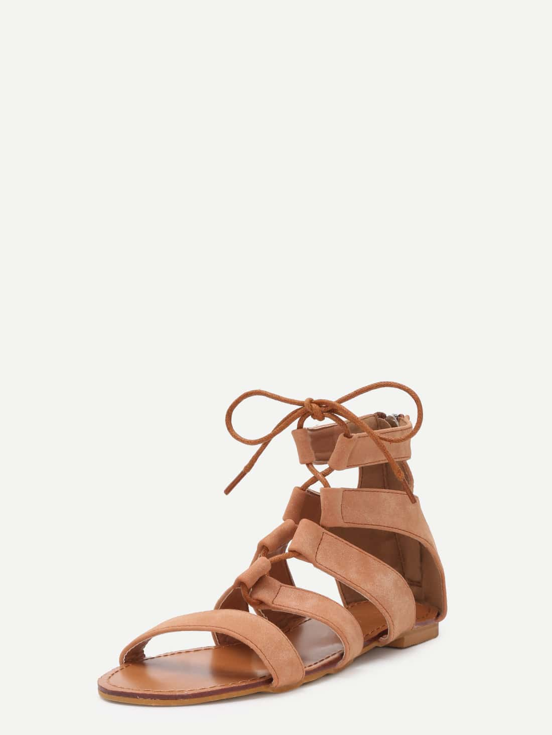 8c975538dc3 Brown Peep Toe Caged Cut Out Gladiator SandalsFor Women-romwe