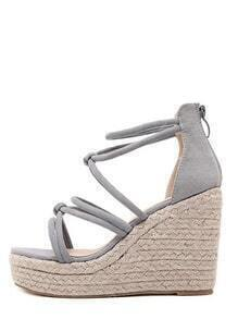 Gray Open Toe High Platform Strappy Wedge Sandals