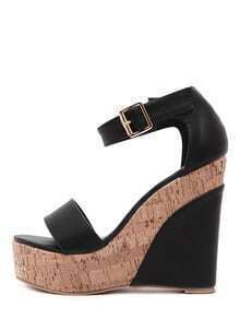 Black Peep Toe Ankle Stap Wedge Sandals