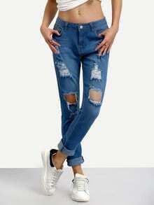 Ripped Rolled Hem Skinny Jeans