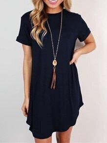 Navy Short Sleeve Cuffed Dress