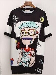 Comic Print Boyfrined T-shirt
