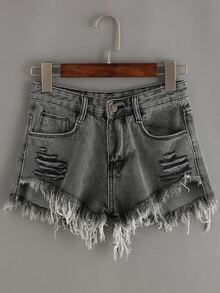 Black Ripped Fringe Denim Shorts