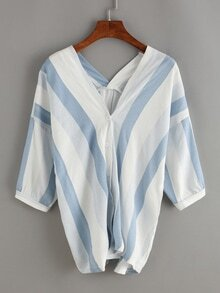 Vertical Striped Double V-Neck Blouse