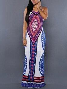 Tribal Print Backless Maxi Cami Dress - Purple