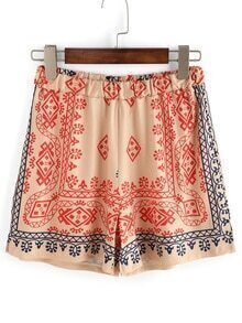 Tribal Print Elastic Waist Shorts