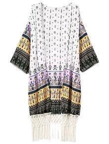 Multicolor Printed Half Sleeve Fringed Hem Cardigan Kimono