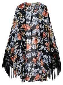 Multicolor Fringed Cuff Floral Print Cardigan Kimono