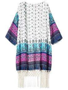 Multicolor Printing Half Sleeve Fringed Hem Cardigan Kimono